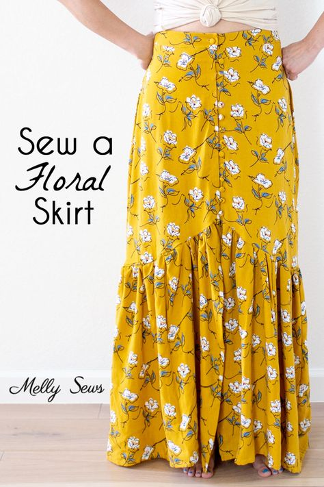 Most recent Absolutely Free Sewing projects clothes Strategies Sew a floral skirt - boho ruffled yellow maxi skirt - DIY tutorial by Melly Sews Diy Sewing Projects, Sewing Projects For Beginners, Sewing Hacks, Sewing Tutorials, Sewing Tips, Dress Tutorials, Sewing Blogs, Sewing Ideas, Yellow Maxi Skirts