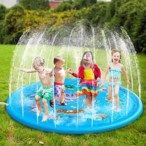 Amazon Bolmaz Splash Pad 68 Inflatable Water Sprinkler Pad Sprinkle Play Mat Swimming Pool Toys Outdoor Tub Water Pad
