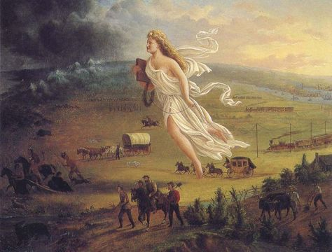 This is the famous painting that expressed the idea of manifest destiny. It also links to wikipedia description which the teacher should review beforehand to make sure that they too believe what is it saying before showing their students.