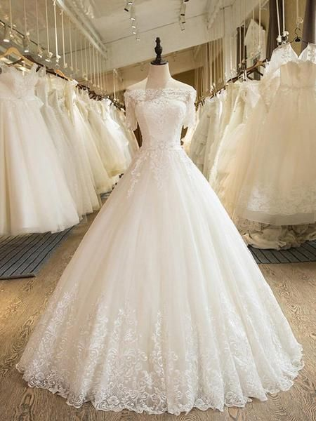 Princess Wedding Dresses Modern Wedding Gown With Short Sleeves