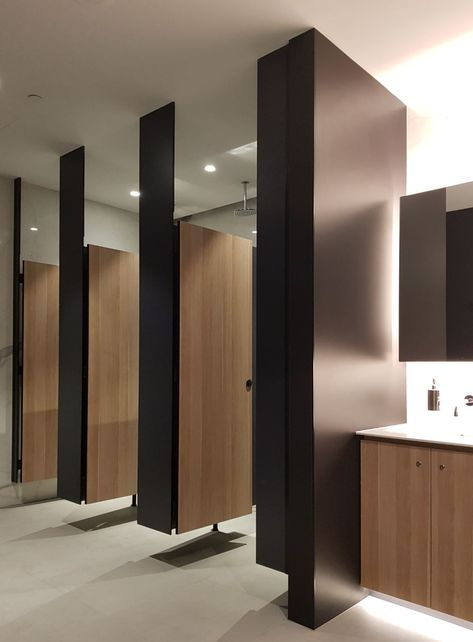 Downloads-Cubicles - AQUALOO - Toilet Partitions & Shower Cubicles Specialist in Australia l Compact Laminate Lockers & Seating l Integrated Paneling System l Washroom Accessories Wc Design, Toilet Design, Design Desk, Furniture Design, Office Bathroom, Bathroom Interior, Wc Public, Cubicle Partitions, Cubicle Design