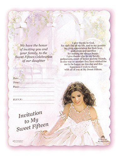 Sweet Fifteen Invitations Fill In The Blank Designed And