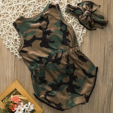 Baby Girls Camo Romper Bodysuit Set Clothes Size 0-24M