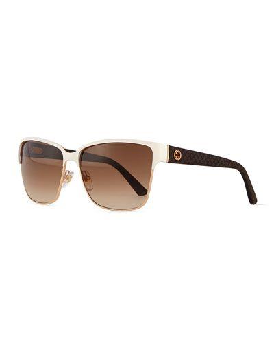 cc1d9de6e01 D0XK6 Gucci Dual-Rimmed GG-Temple Square Sunglasses