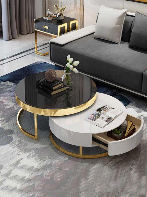 Mesa Bandeja Set de 2 mesas auxiliares 39 x 54,5 x 54,5 cm y 55,5 x 54 x 40 cm Mesa para Servir t/é o Comida Blanco Mate en.casa