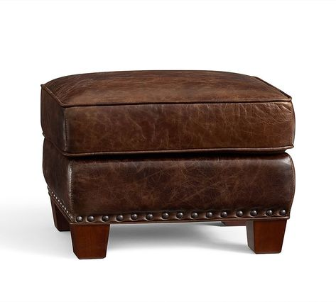 Irving Leather Storage Ottoman With Bronze Nailheads