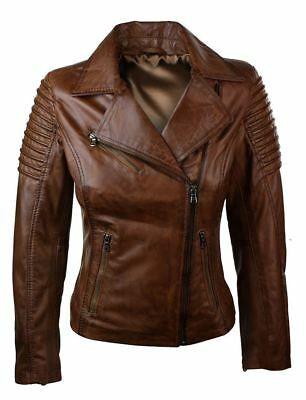 Womens Leather Jacket Genuine Lambskin Real Biker Motorcycle Slim Fit Coat Brown