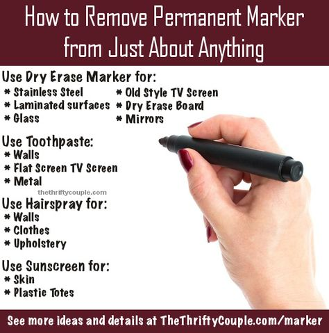 Tips and ideas on how to remove permanent marker or Sharpie from nearly everything.