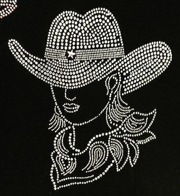 HOTFIX-RHINESTONES-HEAT-TRANSFER-IRON-ON-034-BIG-COW-GIRL-BLING-034