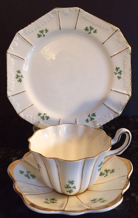 Royal Tara Shamrock Design Gold Trim Fluted Cup Saucer Luncheon Plate Ireland Cup And Saucer Cup Irish Tea
