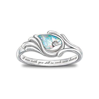 Diamond And Created Opal Women S Ring I Am With You Still By The Bradford Exchange Review Opal Sterling Silver Silver Ring Designs Silver Diamond Jewelry
