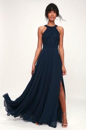 d6686c60464f5 Lulus | Always Stunning Convertible Navy Blue Maxi Dress | Size X ...