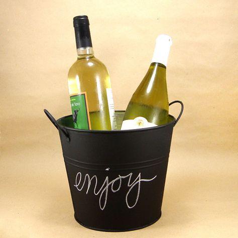 Ice Bucket Chalkboard Tin Pail by EventDesignShop on Etsy, $20.00
