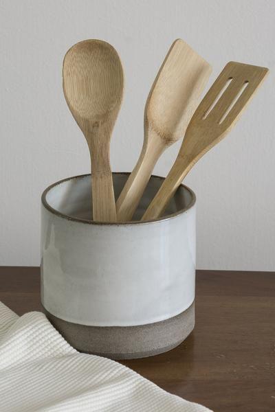 Gray And White Kitchen Utensil Holder