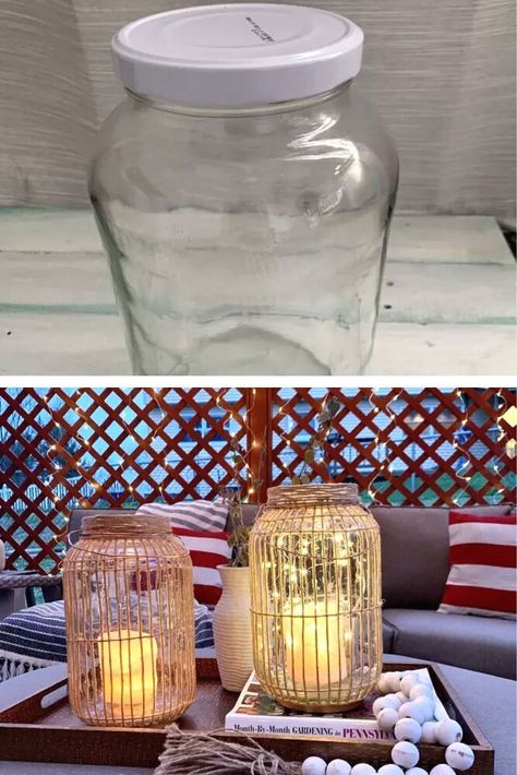 f you like lanterns and you want to have the most romantic and cozy atmosphere on your patio or porch, don't throw out your large glass pickle jars.