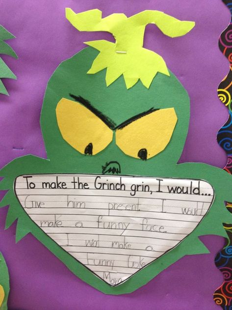 First Grade Smiles: GRINCH DAY! This totally happened in the first grade class I observed. Classroom Crafts, Classroom Fun, Classroom Activities, Holiday Classrooms, Preschool Bulletin, Creative Activities, Future Classroom, Christmas Writing, Preschool Christmas