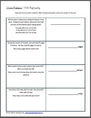 Word Problems with Regrouping Worksheet | Word problems, Free ...