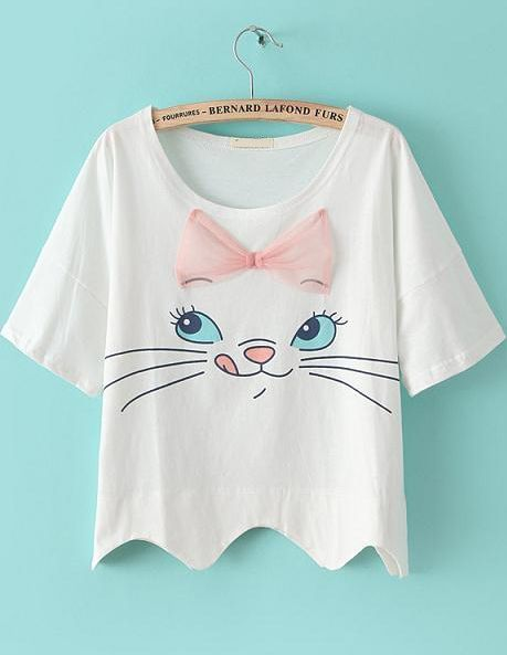 White+Short+Sleeve+Bow+Cat+Print+Crop+T-shirt+US$15.50