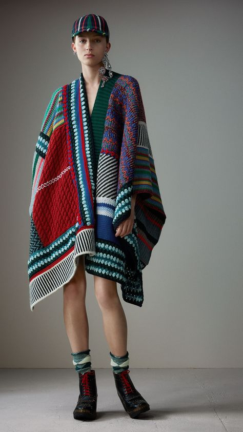 Cashmere Wool Blend Patchwork Poncho in Multicolour Burberry United Kingdom