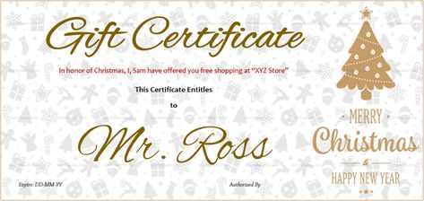 Download Golden Tree Christmas Gift Certificate (#399R) MS WORD in Microsoft Word (DOC). Golden Tree Christmas Gift Certificate (#399R) MS WORD is designed by expert designers and is completely customizable. Download, Edit  Print.