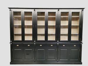 Grand Vaisselier En Bois 6 Portes Noir Mas Cottage En 2020 Meuble En Pin Massif Meuble En Pin Buffet Vaisselier