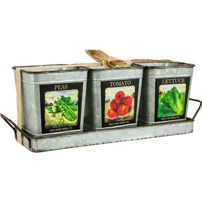 Red Shed Metal Tray With 3 Planters Metal Trays Tractor Supplies Tractor Supply Co