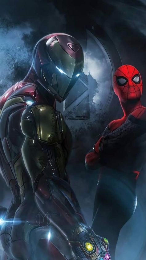 Future Iron Man and Spiderman - iPhone Wallpapers
