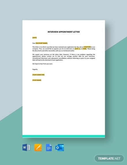 Interview Appointment Letter Template Free Pdf Word Apple Pages Google Docs In 2021 Invoice Template Lettering Letter Templates Free