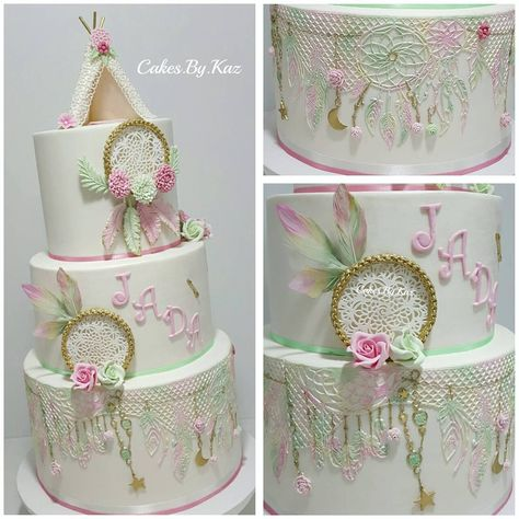 birthday boho dreamcatcher cake with edible cake lace coloured in lustre dust.