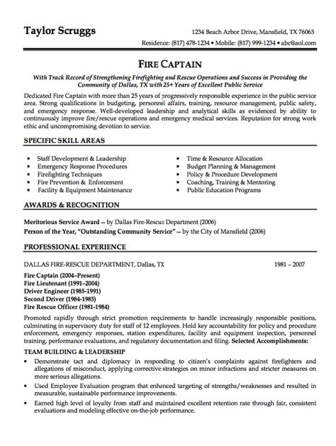 Sample Resume Fire Captain  HttpResumesdesignComSample