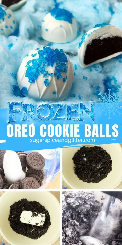 Frozen OREO Truffles ⋆ Sugar, Spice and Glitter How to make no bake OREO cookie balls, the perfect Disney's Frozen dessert for a Frozen birthday party or movie night Disney Frozen Party, Frozen Party Food, Frozen 2, Frozen Desserts, Frozen Cake Pops, Frozen Movie Party, Disney Frozen Crafts, Frozen Party Decorations, Disney Desserts