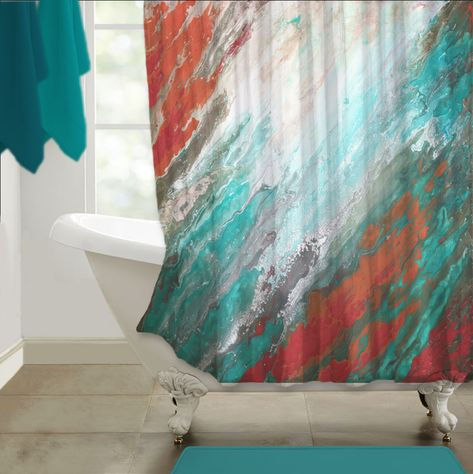Gray Coral And Teal Shower Curtain Modern Abstract Fabric Shower