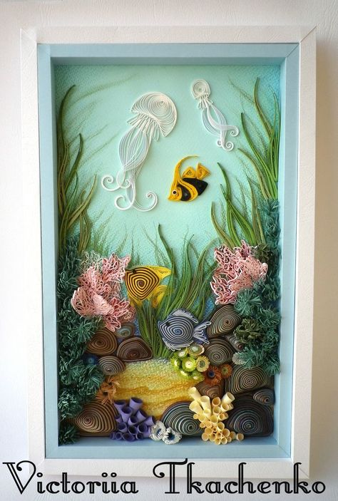 Quilling art, sea bottom  #Art #bottom #Quilling #Sea