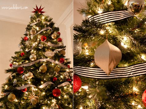christmas tree decor red silver gold glitter ornaments from target kraft fun shaped ornament ornate hobby lobby black and white stripe ribbon