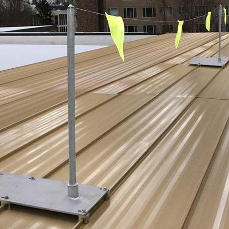 Fixed Warning Lines For Roof Metal Decks Metal Roof Metal Deck Standing Seam