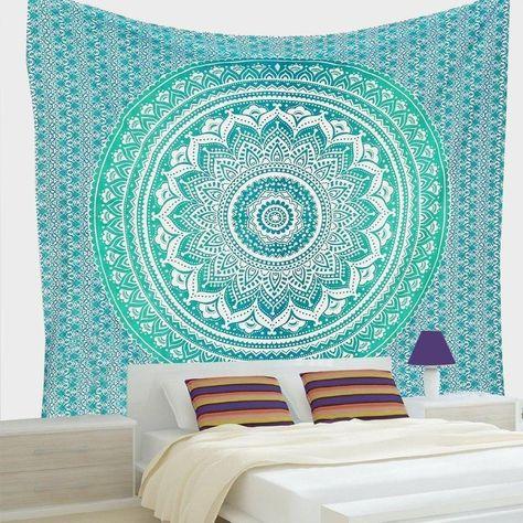 Tapestry Silber Ombre Cotton Mandala Throw Wandbehang Dekor Ethnic Twin Neu
