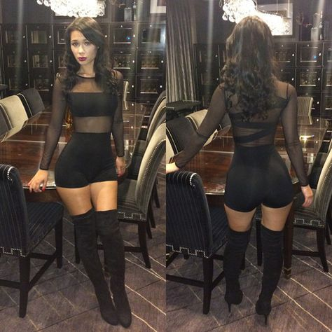 Red bra under New Sexy Women Jumpsuit Mesh Lace Crew Neck Long Sleeve Bodycon Short Rompers Bodysuit Outfits Black