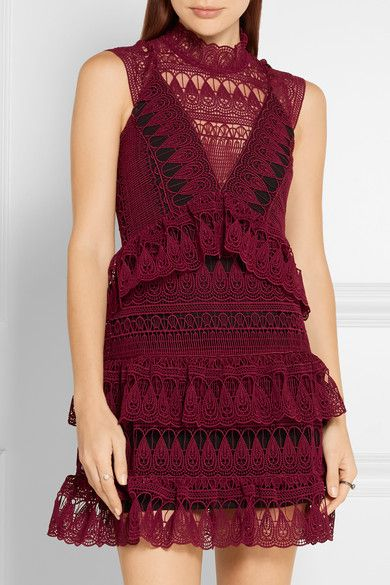 Burgundy guipure lace Hook-fastening keyhole and concealed zip fastening at back 97% polyester, 3% cotton; lining: 100% polyester Hand wash