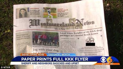 Virginia residents angry after local newspaper runs KKK flyer on cover