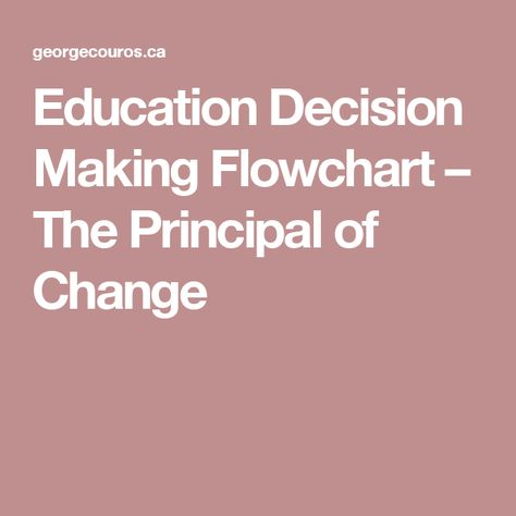 Education decision making flowchart  the principal of change also rh pinterest