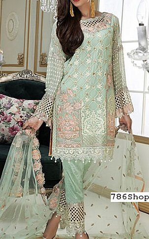 Indian Pakistani Printed Chiffon Suit Casual Stitched Shalwar Kameez Salwar