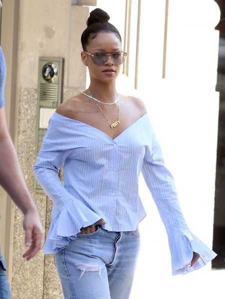 Singer Rihanna is spotted stepping out in New York City.
