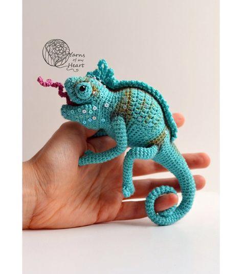 Chameleon pattern, Crochet Pattern, crochet Toy, Chameleon ... | 534x473