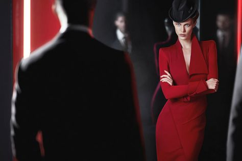 Donna Karan Fall 2012 Ad Campaign. What a killer red dress!