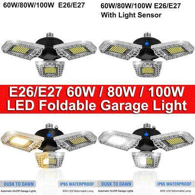 Details About 60w 80w 100w Led Garage Ceiling Light Bulb Super Bright Workshop Warehouse Lamp In 2020 Garage Lighting Light Sensor Dusk To Dawn