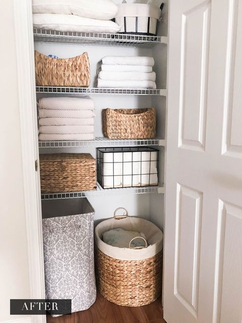 LINEN CLOSET ORGANIZATION | AMANDA FONTENOT BLOG  home, home deocr, home organization, closet organization, organized Farmhouse Organization