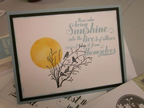 Designed by Sue B's Paper Creations  Stampin Up stamp sets used: Serene Silhouettes & Feel Goods.