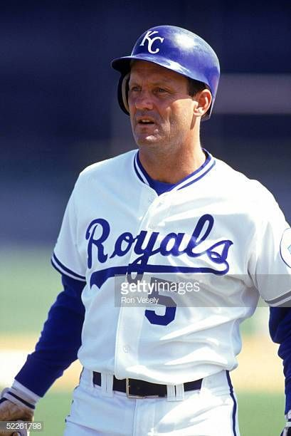 George Brett of the Kansas City Royals looks on during a game ...