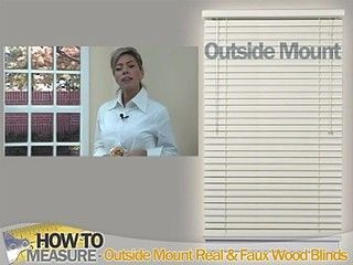 How To Measure For Outside Mount Wood And Fauxwood Blinds Blinds Com With Images Faux Wood Blinds Living Room Woven Wood Shades Shades Blinds