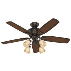 The Hunter Turlington 52 Onyx Bengal Ceiling Fan With Light And Remote Is Elegant Stylish And Fu Ceiling Fan With Light Ceiling Fan Lighting Ceiling Fans